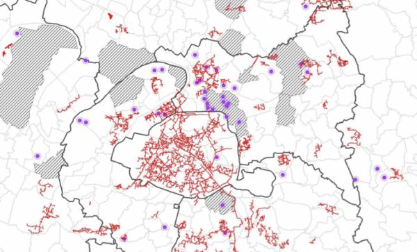 Carte des data centers en service en Ile-de-France (pastilles violettes) (DRIEE).