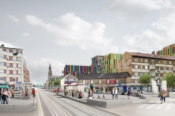 Le projet d'aménagement de l'ilot du marché aux Quatre Routes.