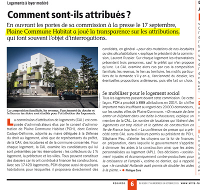 En page 6 du Journal Municipal de La Courneuve, Regards n°436