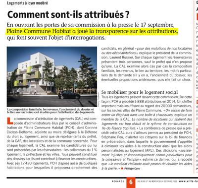 En page 6 du Journal Municipal de La Courneuve, Regards n°436