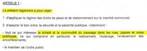 Article 1 du Règlement du marché