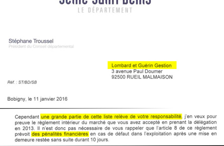 Extrait du courrier de M. Stéphane Troussel à Lombard et Guérin Gestion
