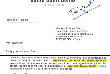 Extrait du courrier de M. Stéphane Troussel au Préfet de Seine-Saint-Denis