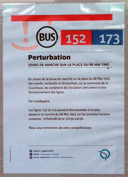 L'affiche qui averti les voyageurs à l'arrêt La Courneuve - 8 Mai 1945.