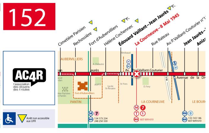 En rouge les arrêts et les correspondances non desservis par le 152 les jours de marché.